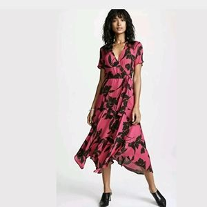 ALC Cora Dress Wrap Floral Print Midi Dress